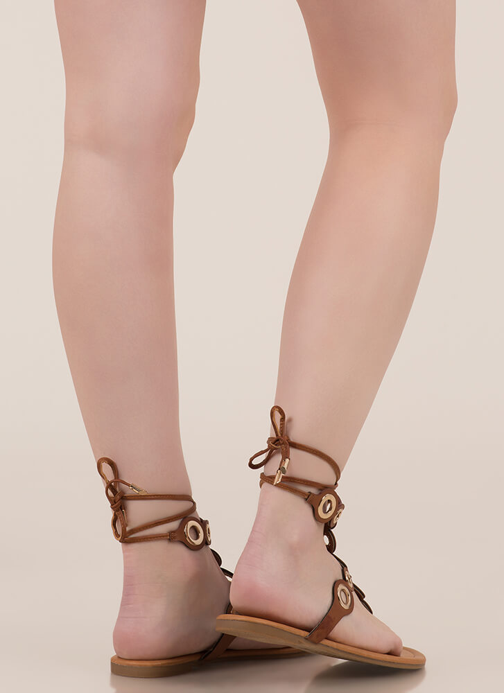 Well-Rounded Cut-Out Lace-Up Sandals COGNAC
