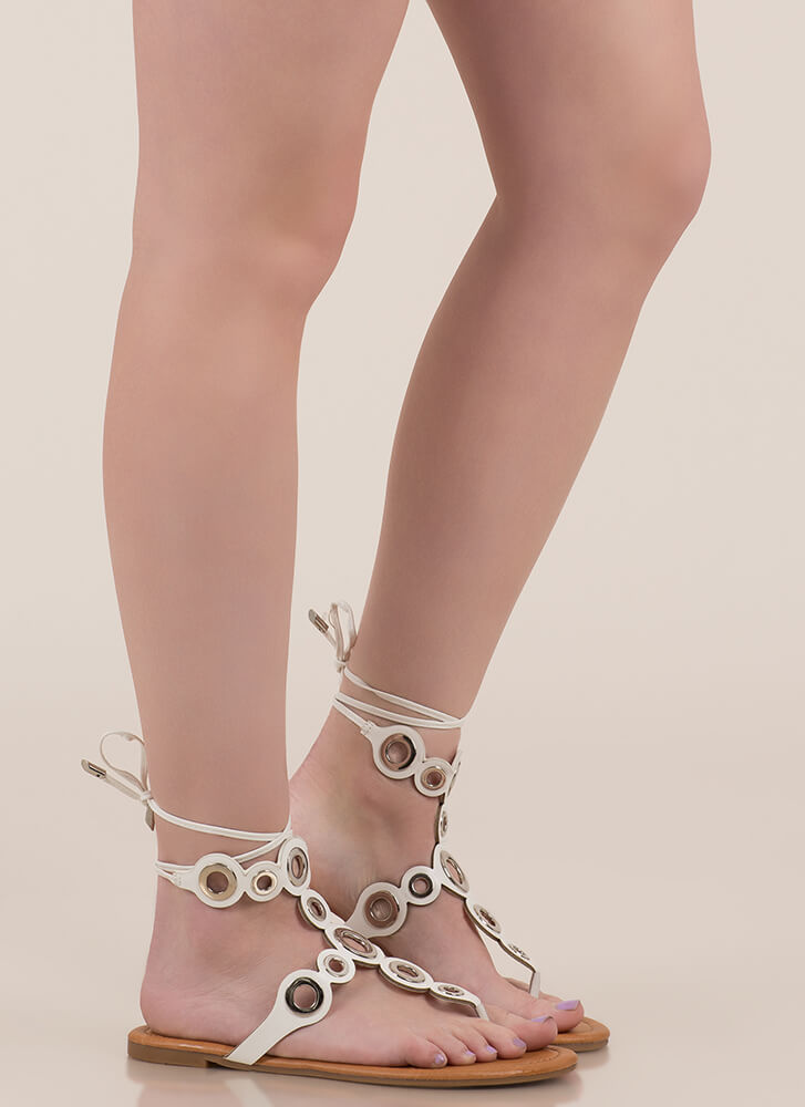 Well-Rounded Cut-Out Lace-Up Sandals WHITE