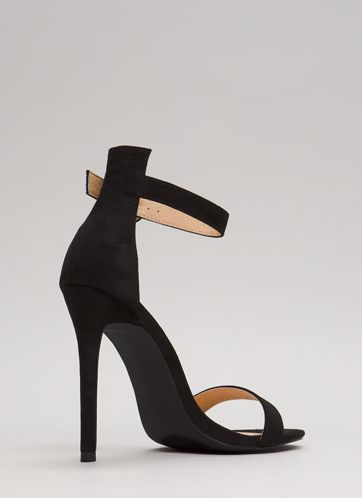 So Ready Faux Suede Ankle Strap Heels BLACK