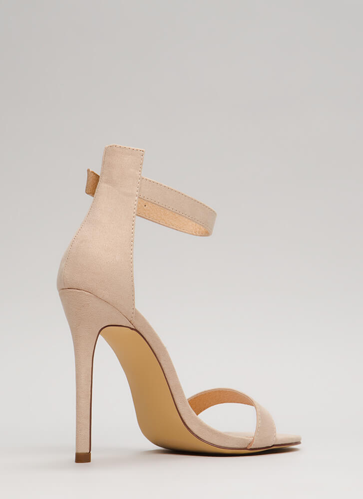 So Ready Faux Suede Ankle Strap Heels NUDE