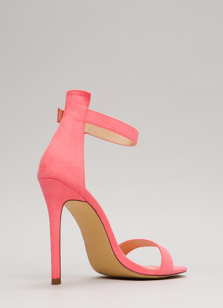 So Ready Faux Suede Ankle Strap Heels PINK