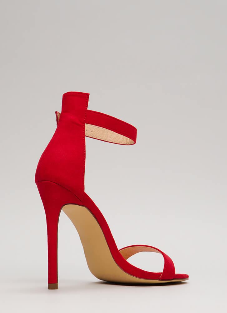 So Ready Faux Suede Ankle Strap Heels RED