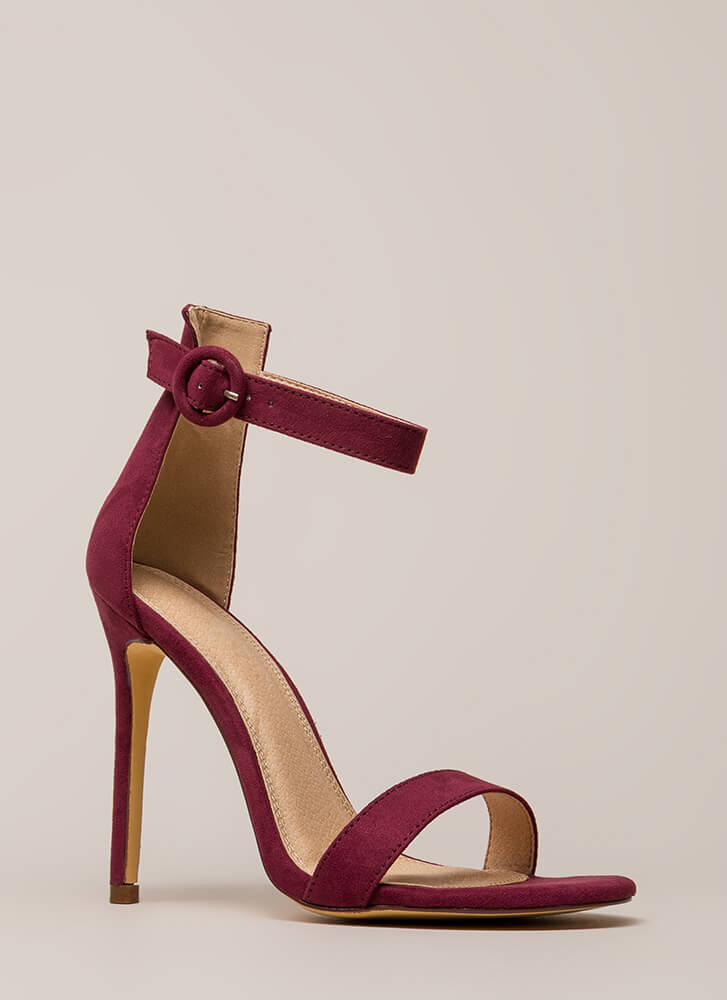So Ready Faux Suede Ankle Strap Heels WINE
