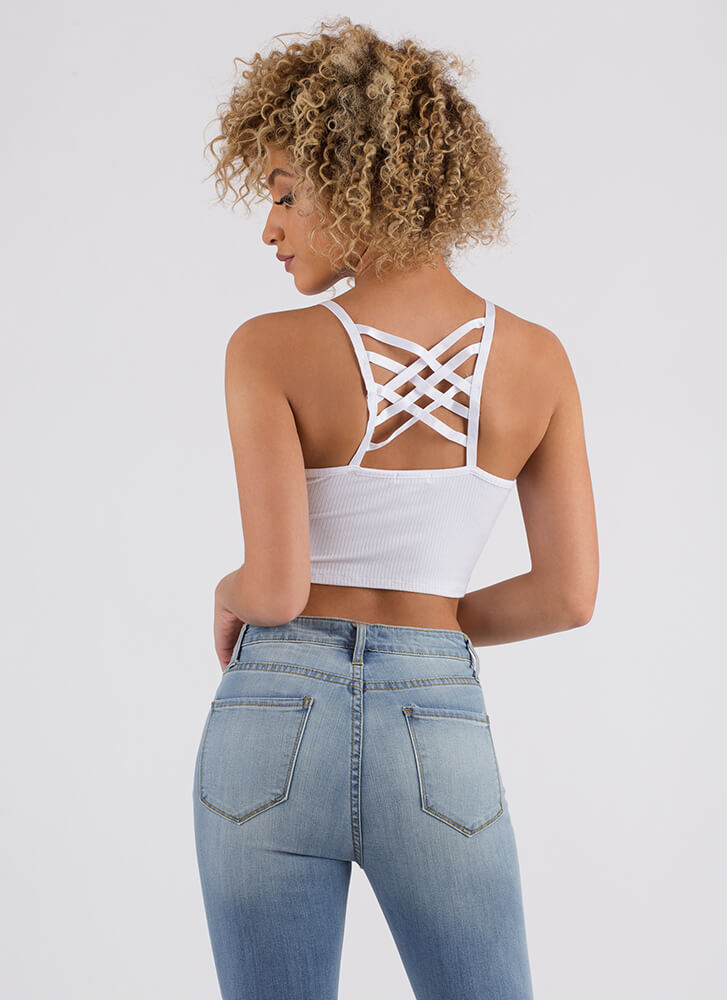 Turn Around Caged Back Cropped Tank WHITE