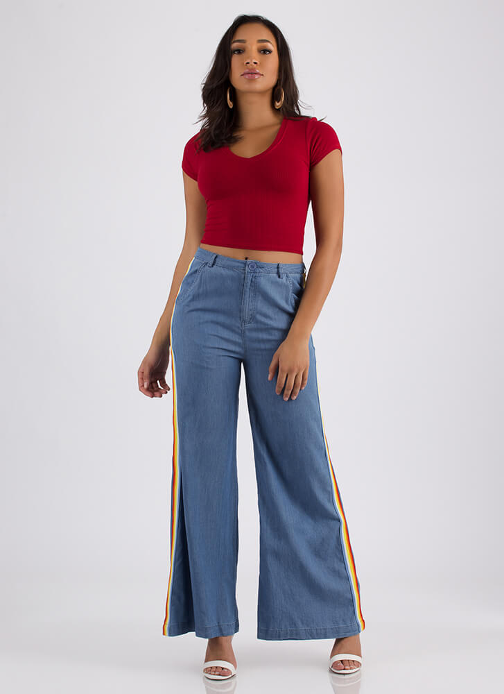 Learn The Basics Ribbed V-Neck Crop Top RED (Final Sale)