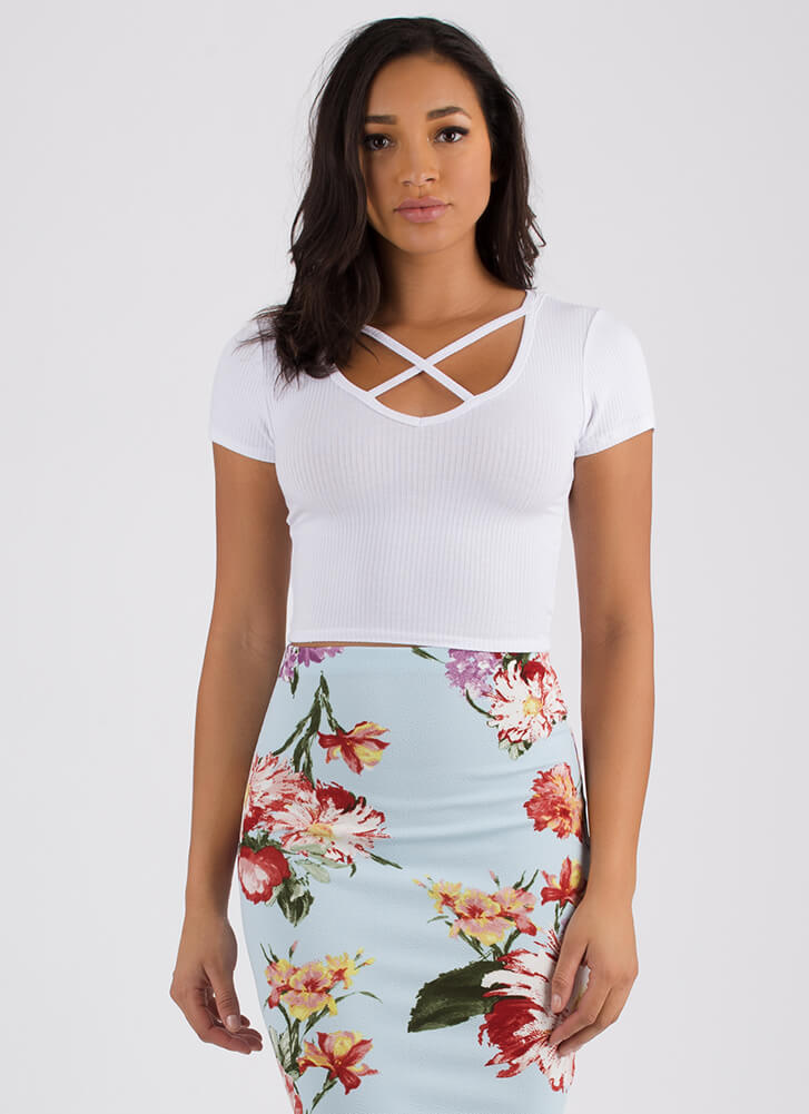 One Strap Or Two Rib Knit Crop Top WHITE