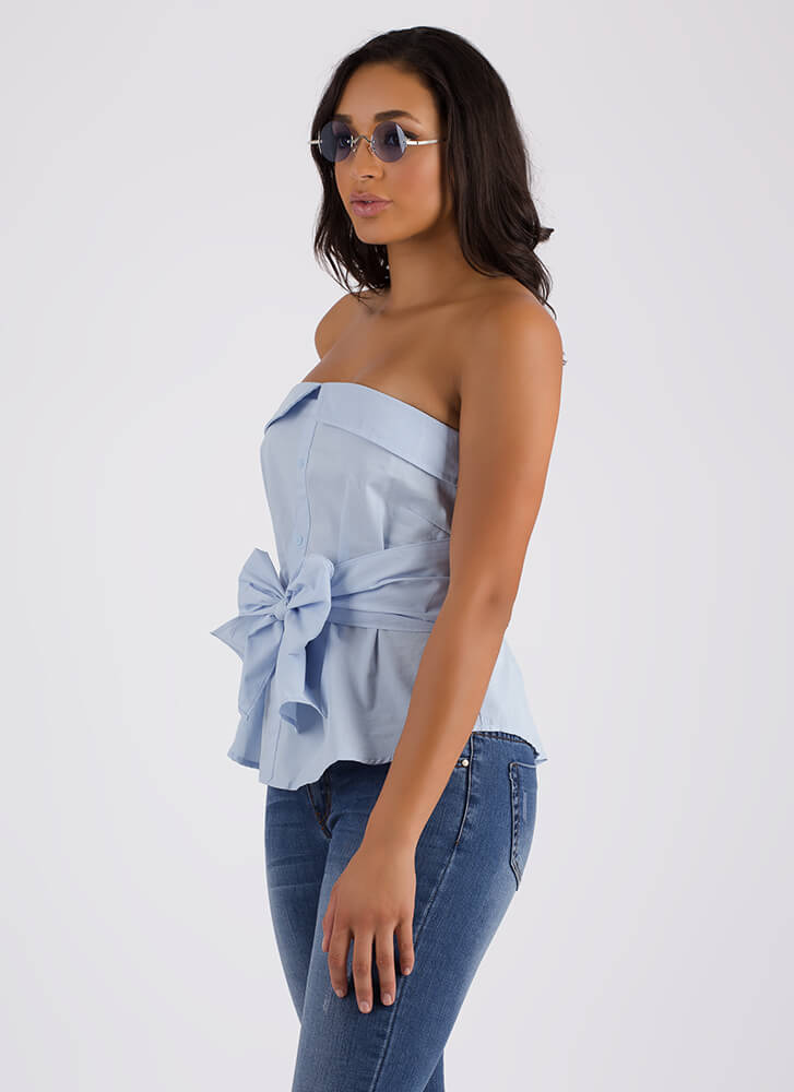 Shirt Why Not Strapless Tied Top BLUE