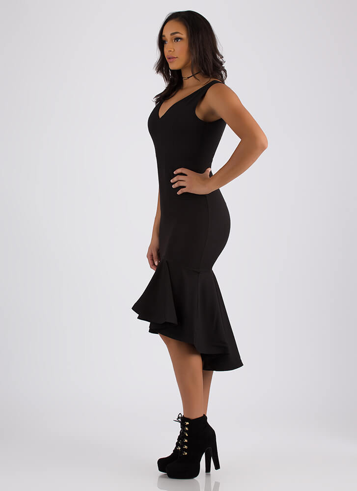 All The Right Places Flared Hem Dress BLACK (Final Sale)