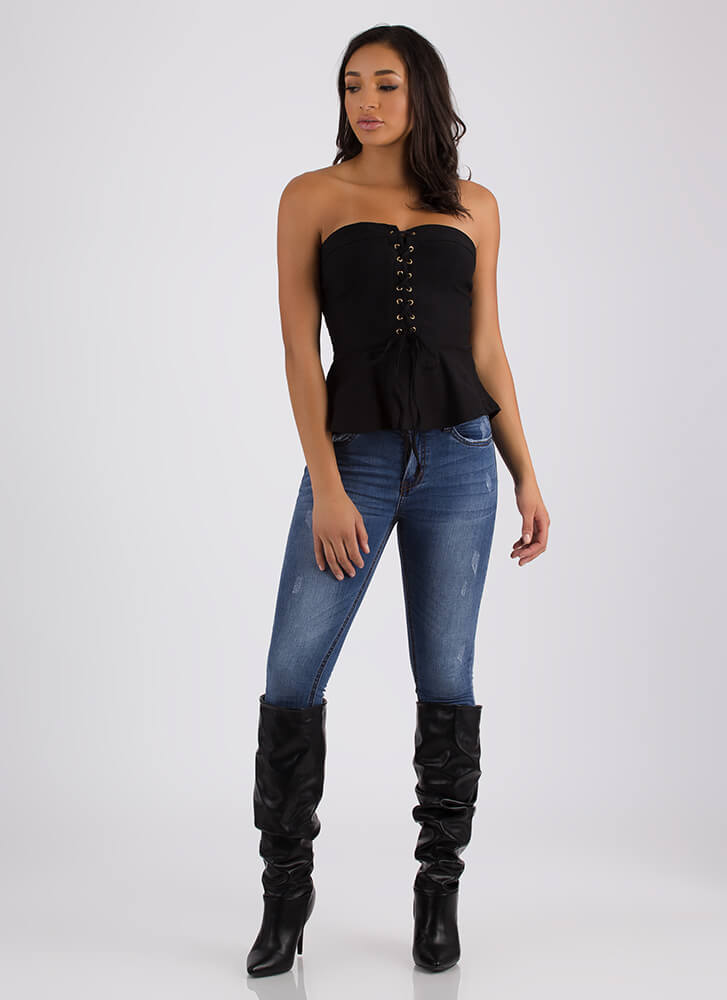 Lady In Laces Strapless Peplum Top BLACK