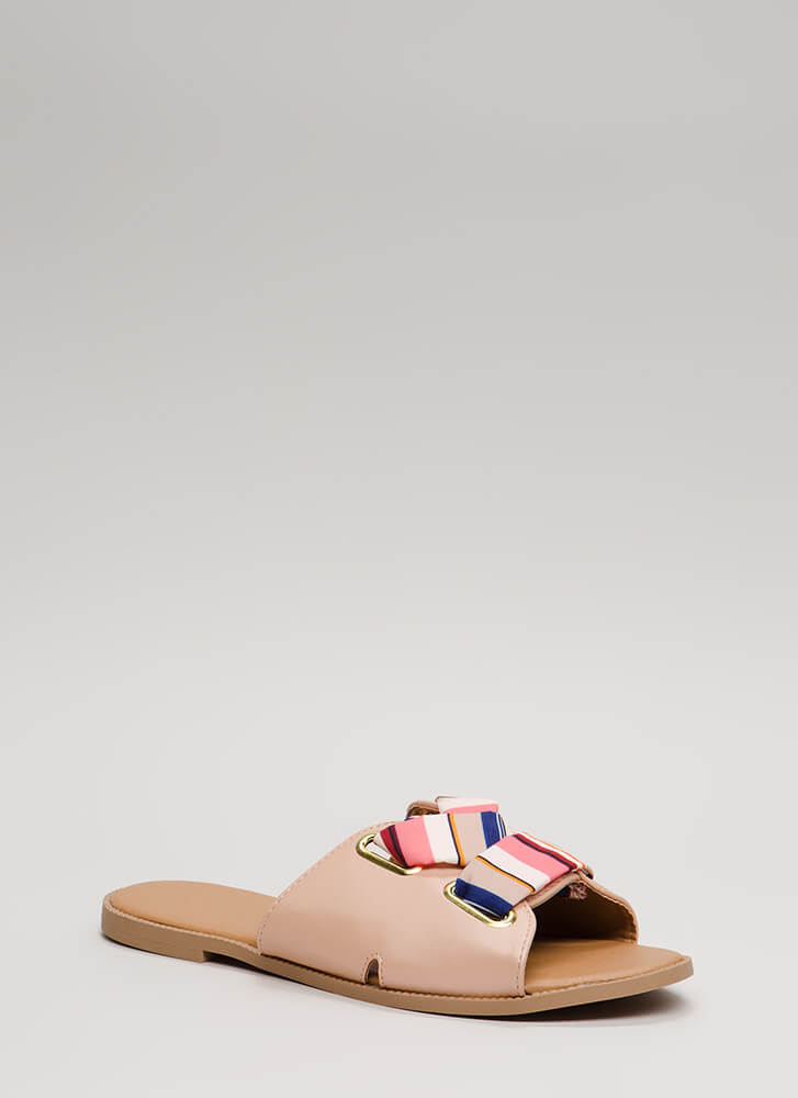 Ribbon Winner Striped Slide Sandals BLUSH (Final Sale)