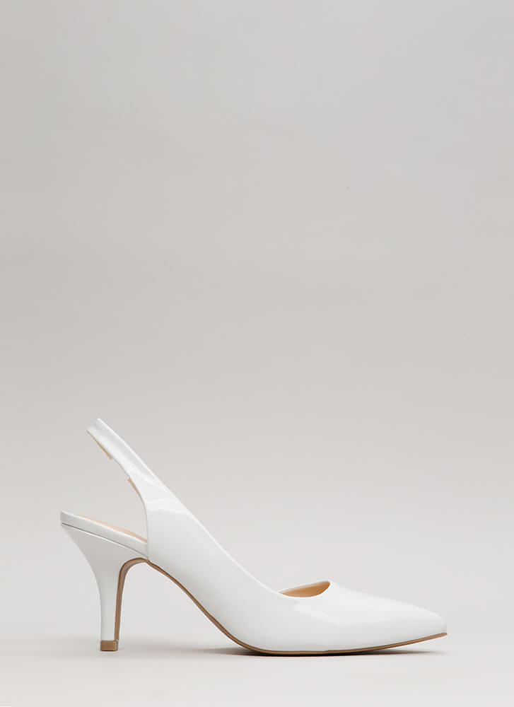 One-Sided Argument Slingback Heels WHITE (Final Sale)