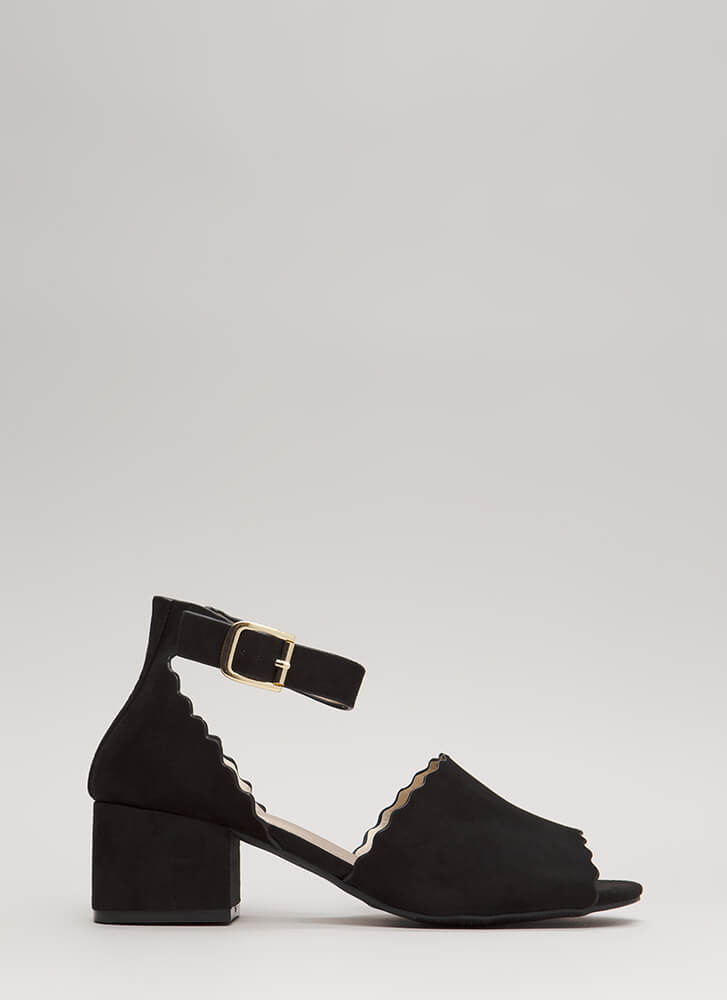 Riding The Wave Short Ankle Strap Heels BLACK