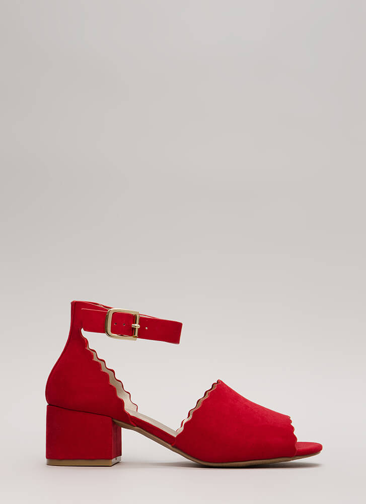 Riding The Wave Short Ankle Strap Heels RED