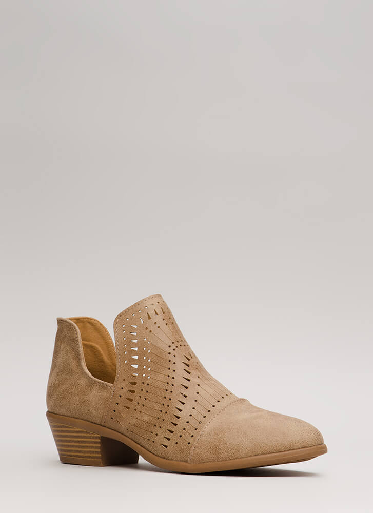 Weekend Road Trip Cut-Out Booties TAUPE (Final Sale)