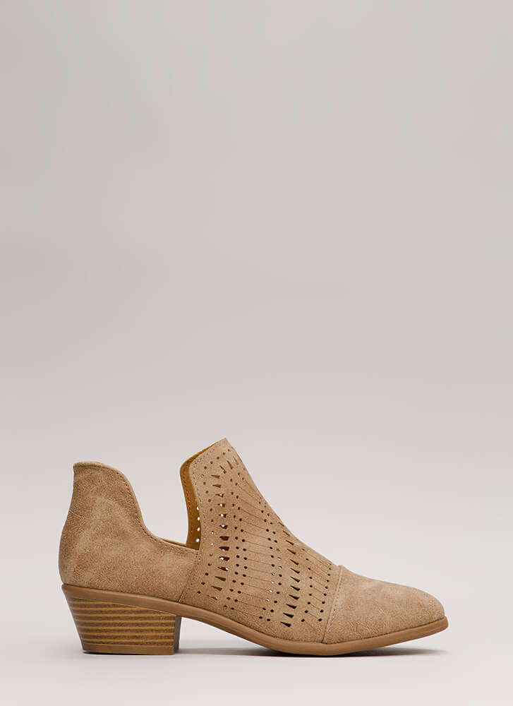 Weekend Road Trip Cut-Out Booties TAUPE