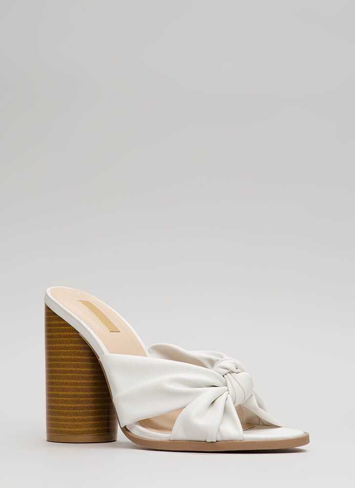 Super Chunky Knotted Mule Heels WHITE