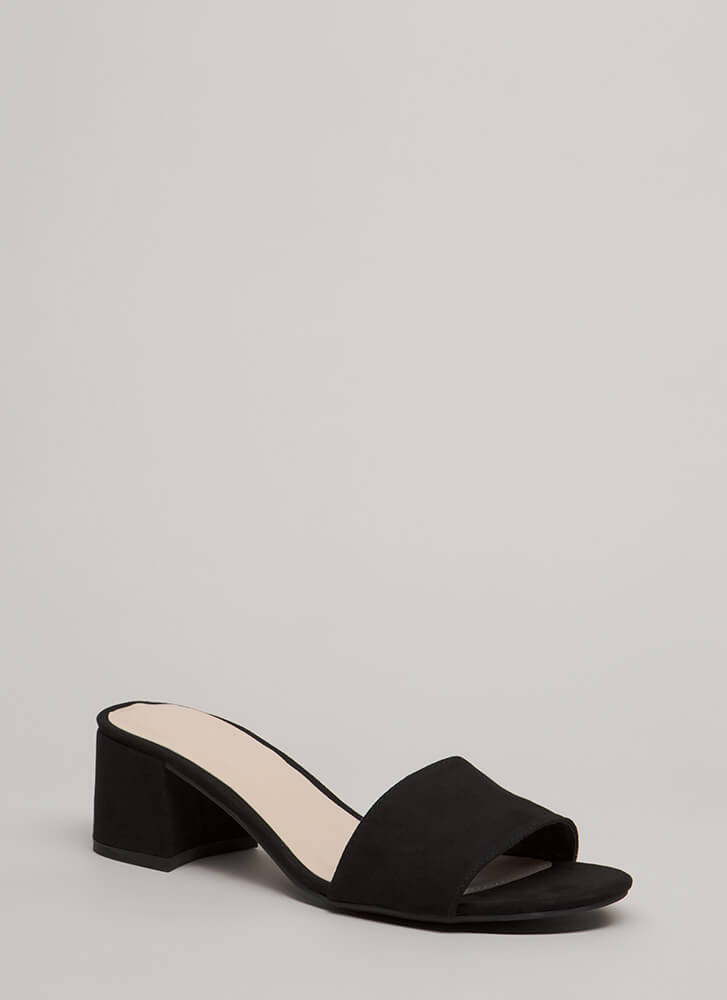 Girl On The Go Faux Suede Mule Heels BLACK