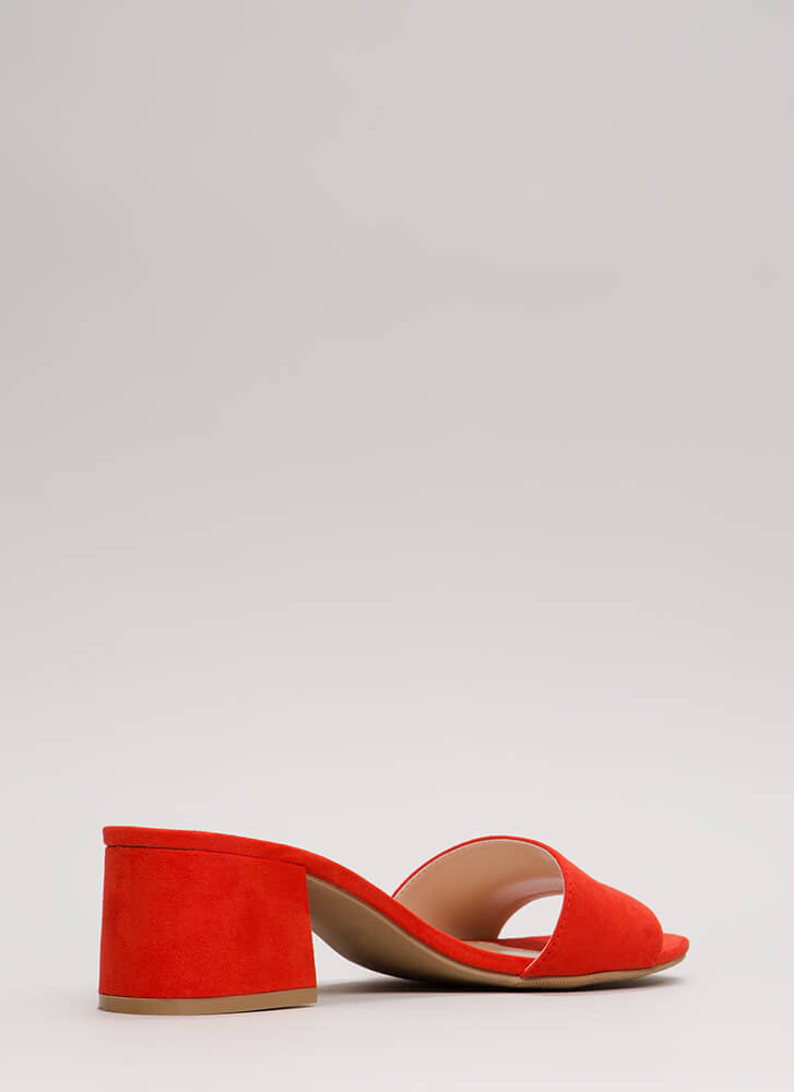 Girl On The Go Faux Suede Mule Heels ORANGE