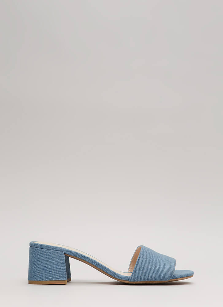 Girl On The Go Denim Mule Heels LTBLUE