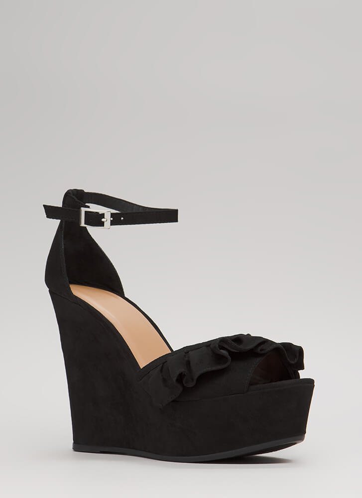 My Choice Ruffled Faux Suede Wedges BLACK (Final Sale)
