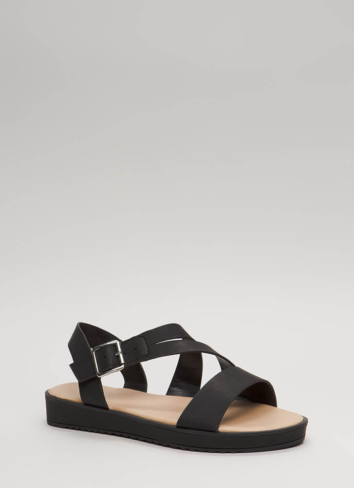 New Bestie Strappy Faux Leather Sandals BLACK