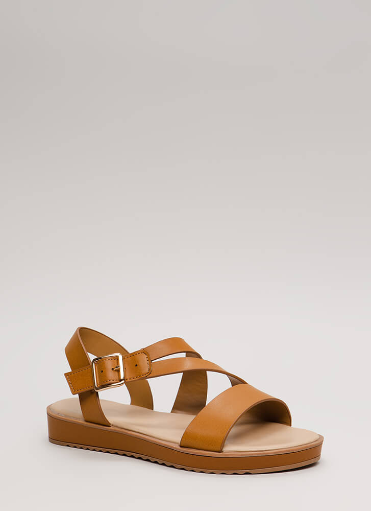 New Bestie Strappy Faux Leather Sandals TAN