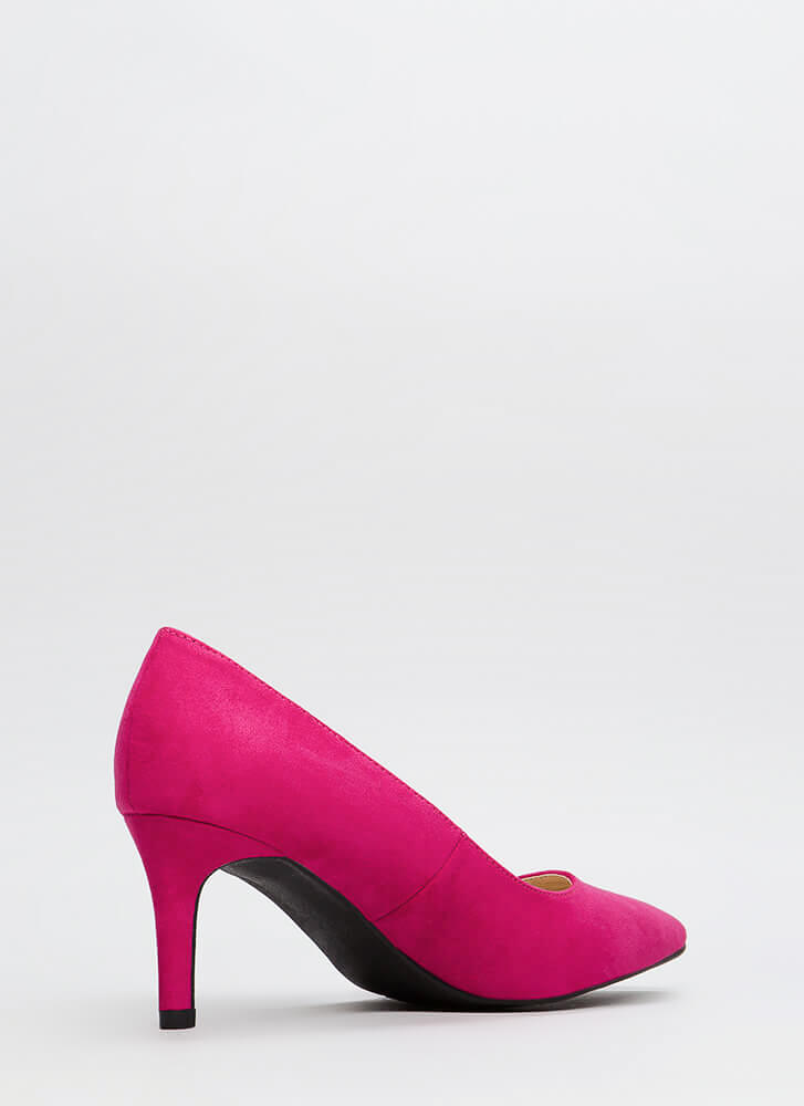 No Shortage Pointy Faux Suede Pumps FUCHSIA