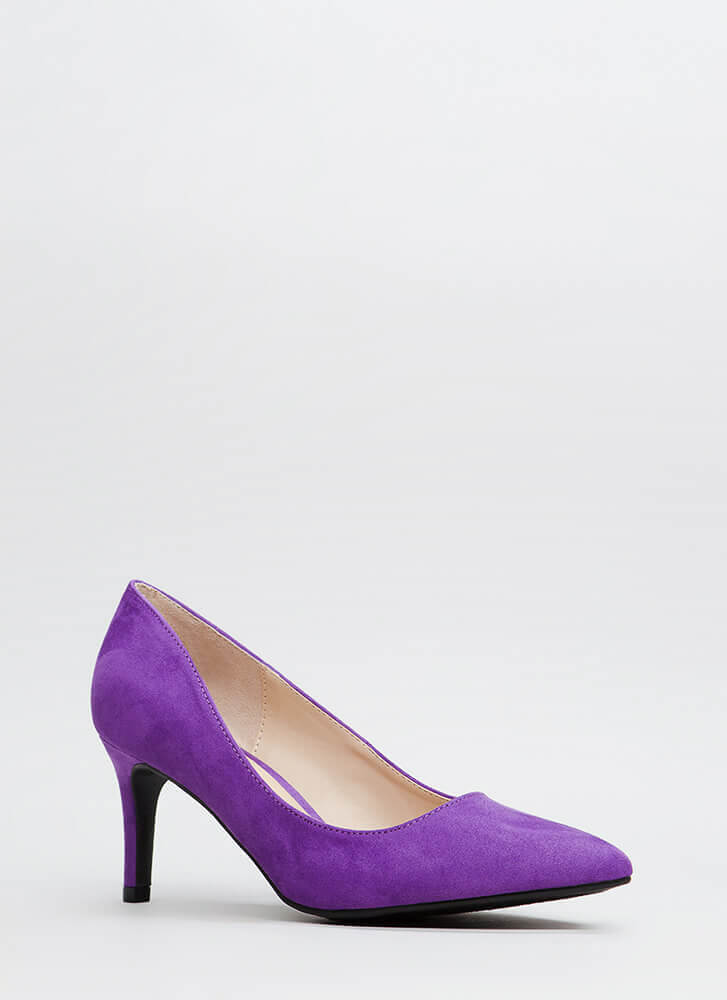 No Shortage Pointy Faux Suede Pumps PURPLE