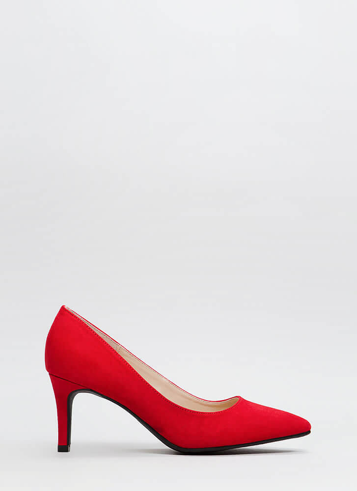 No Shortage Pointy Faux Suede Pumps RED
