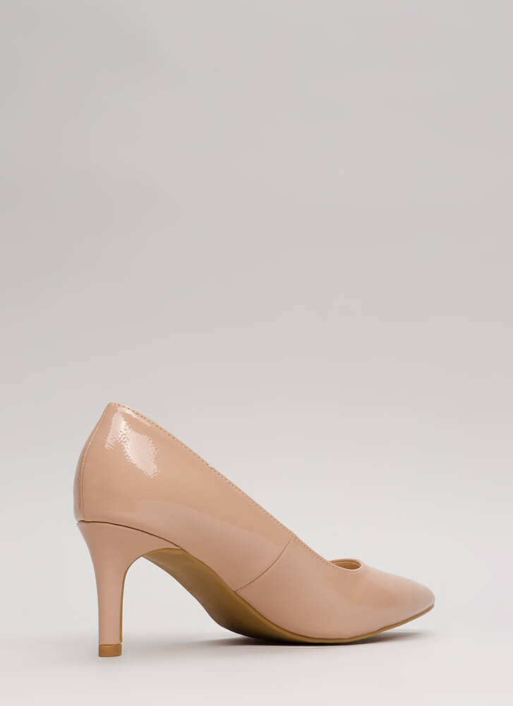 No Shortage Pointy Faux Patent Pumps NUDE