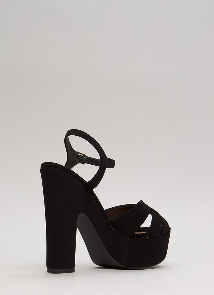 Ready To Retro Faux Nubuck Platforms BLACK