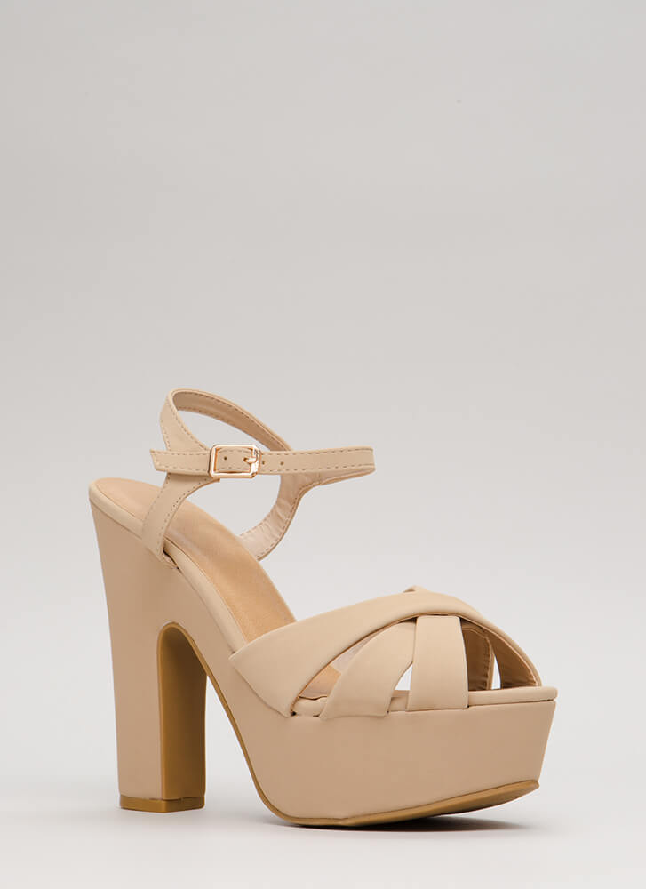 Ready To Retro Faux Nubuck Platforms NUDE