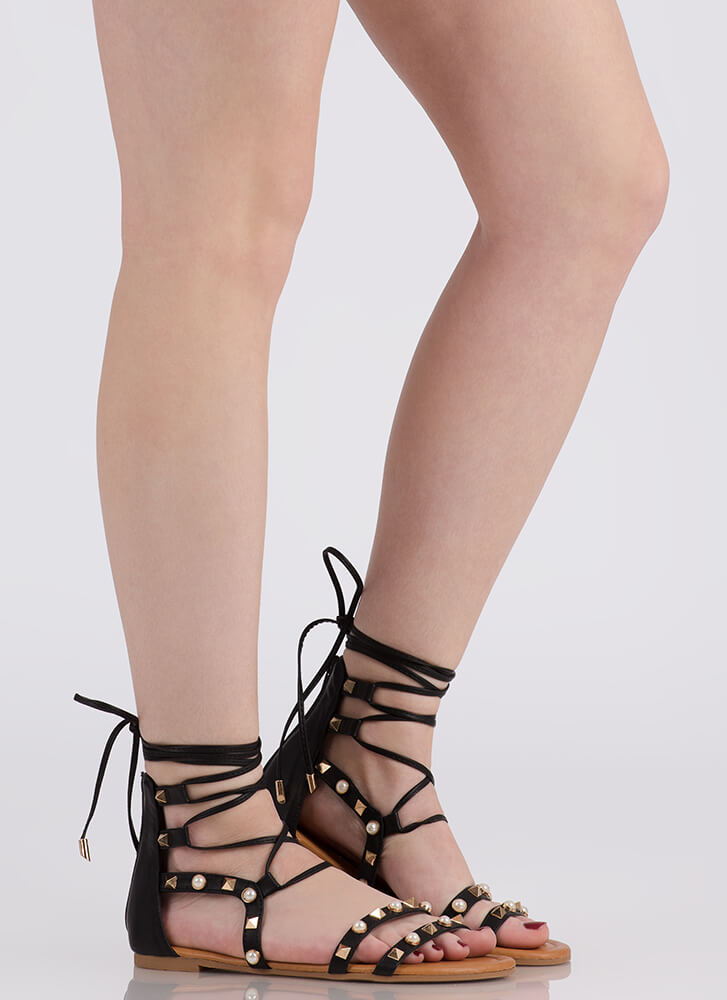 On The Edge Studded Lace-Up Sandals BLACK