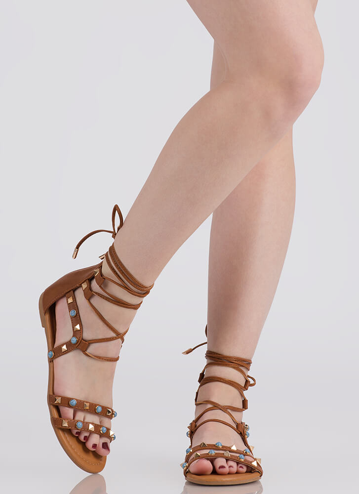 On The Edge Studded Lace-Up Sandals COGNAC