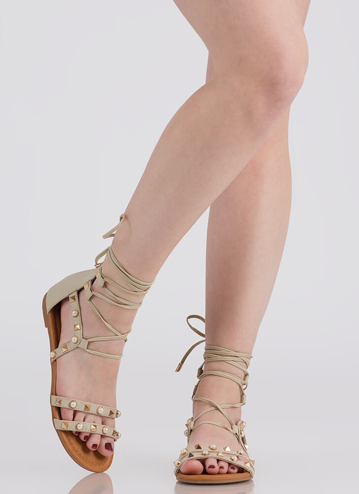 On The Edge Studded Lace-Up Sandals NUDE