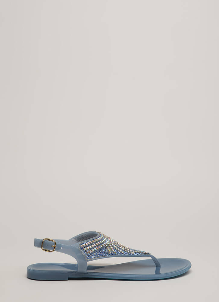 Fringe Fan Jeweled Jelly Thong Sandals BLUE