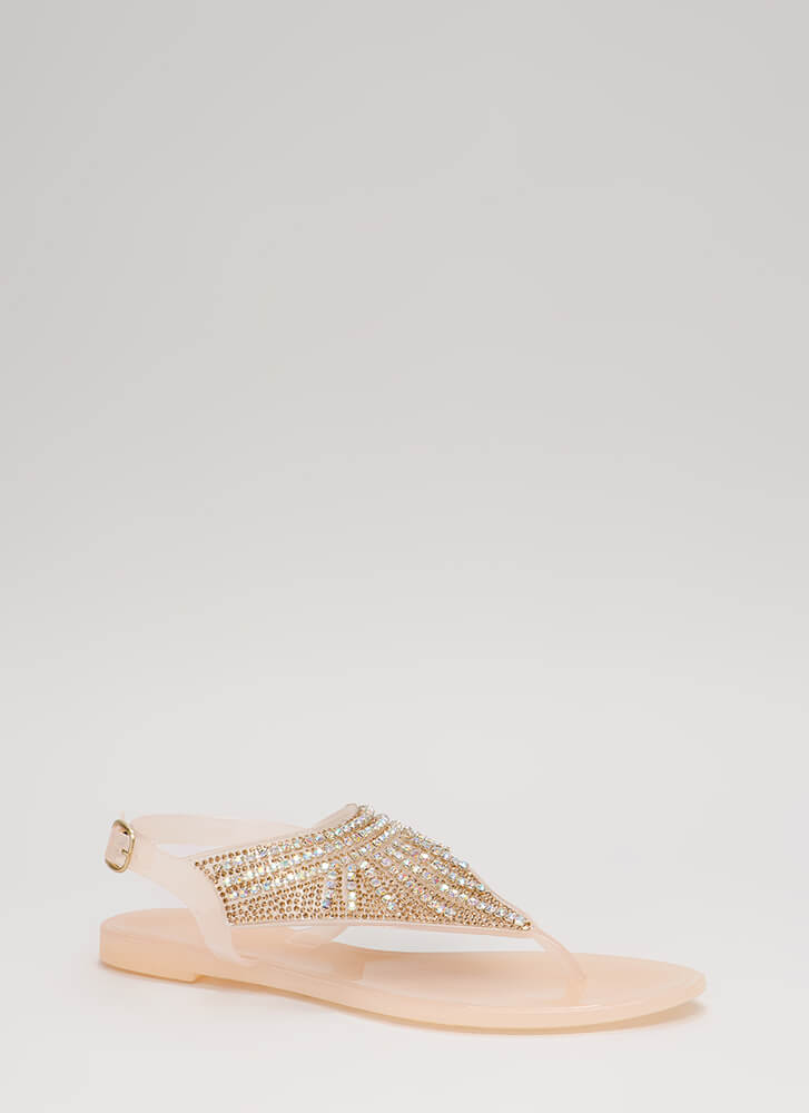 Fringe Fan Jeweled Jelly Thong Sandals NUDE
