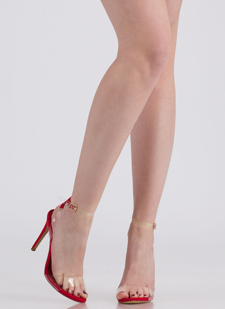 Illusion Revealed Clear Strap Heels RED