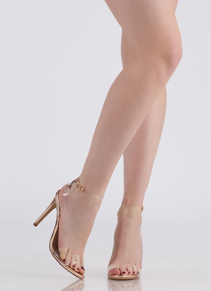 Illusion Revealed Clear Strap Heels ROSEGOLD
