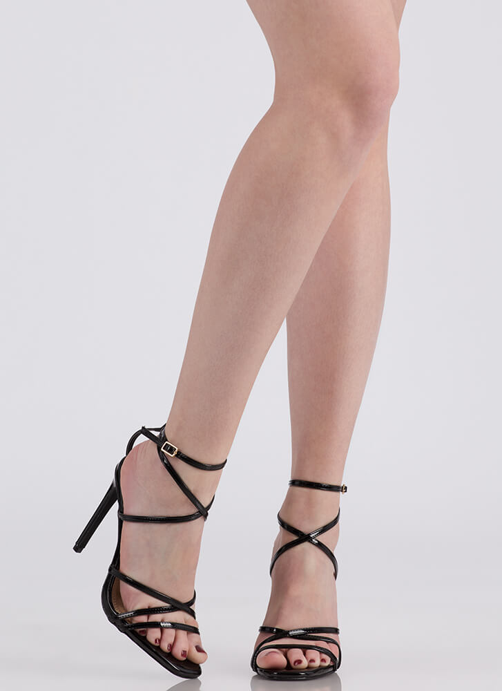 Into Thin Air Strappy Caged Heels BLACK