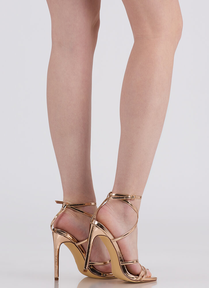 Into Thin Air Strappy Caged Heels ROSEGOLD