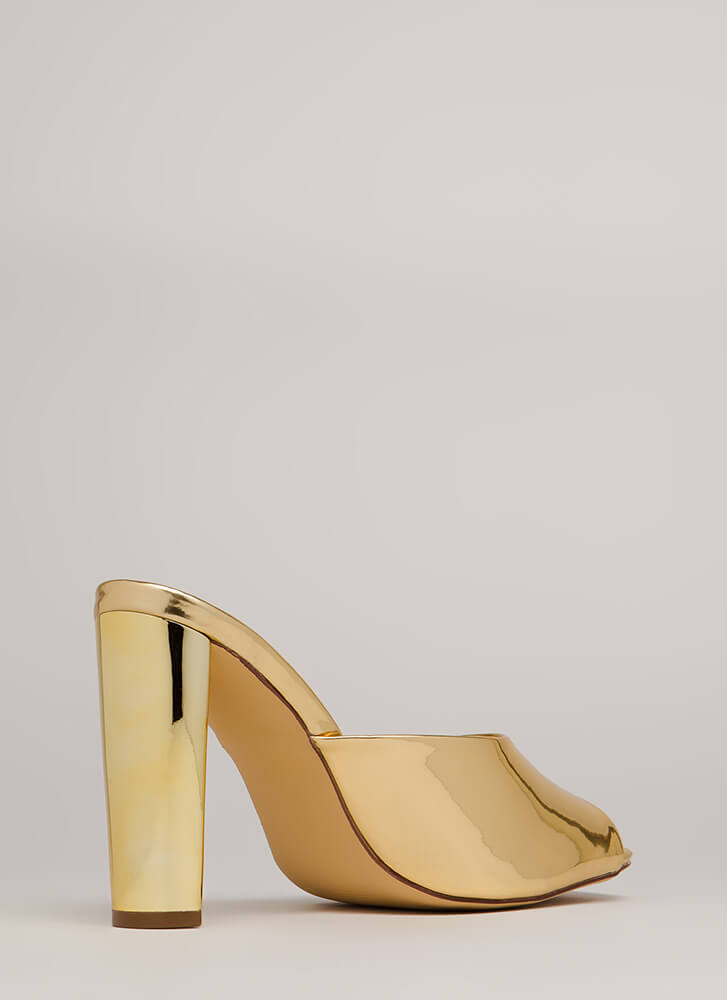 Shining Example Chunky Mule Heels GOLD (Final Sale)
