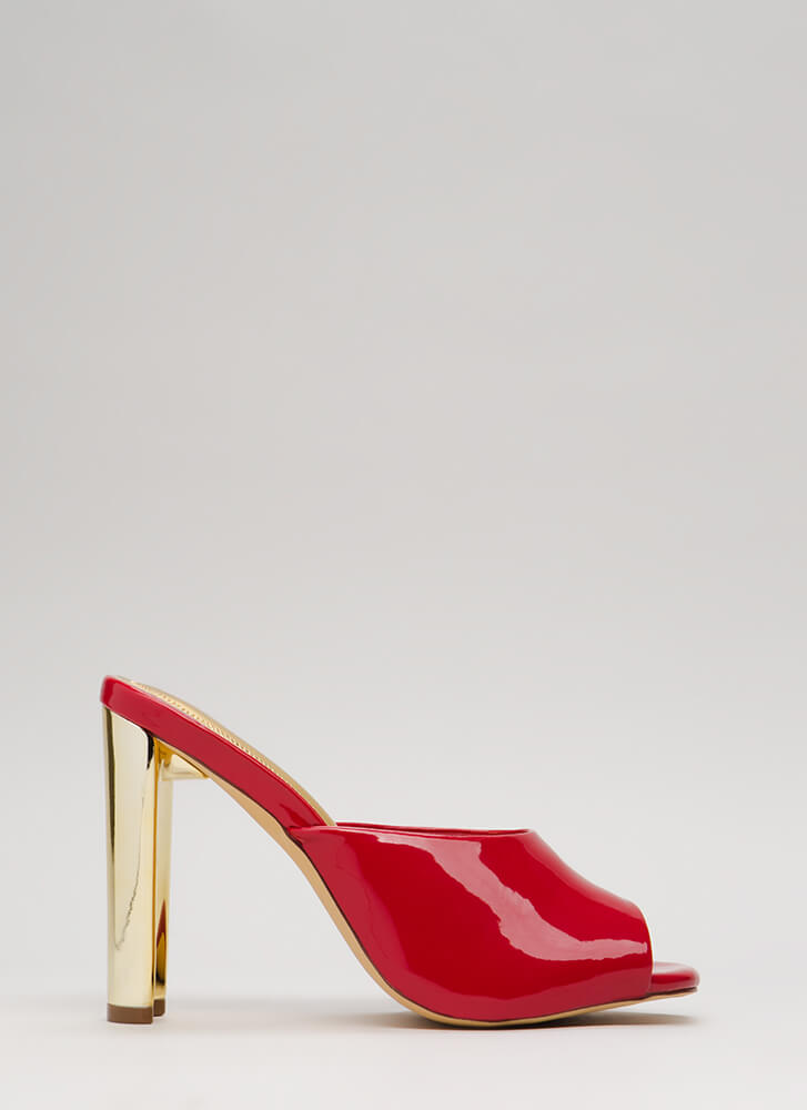 Shining Example Chunky Mule Heels RED