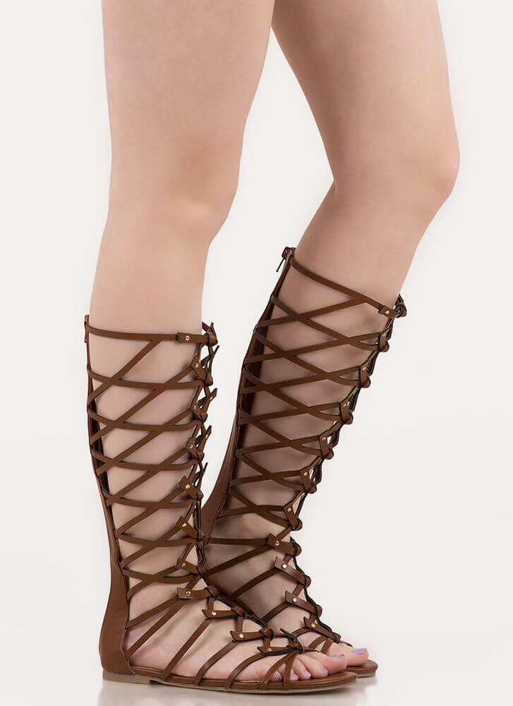 Tied In Knots Studded Gladiator Sandals COGNAC