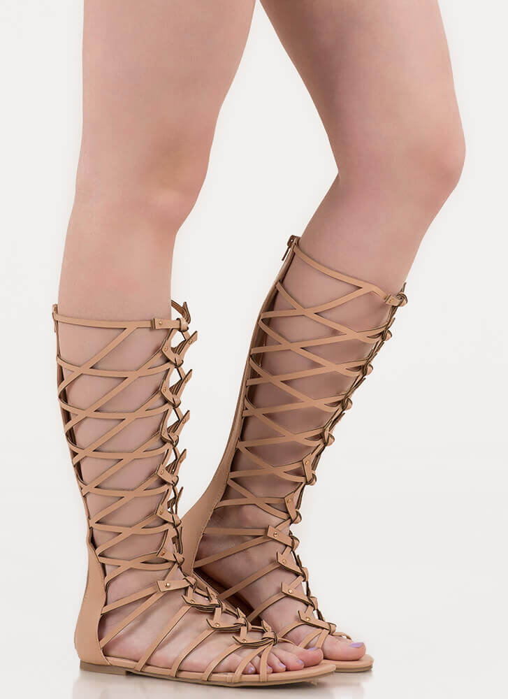 Tied In Knots Studded Gladiator Sandals NUDE