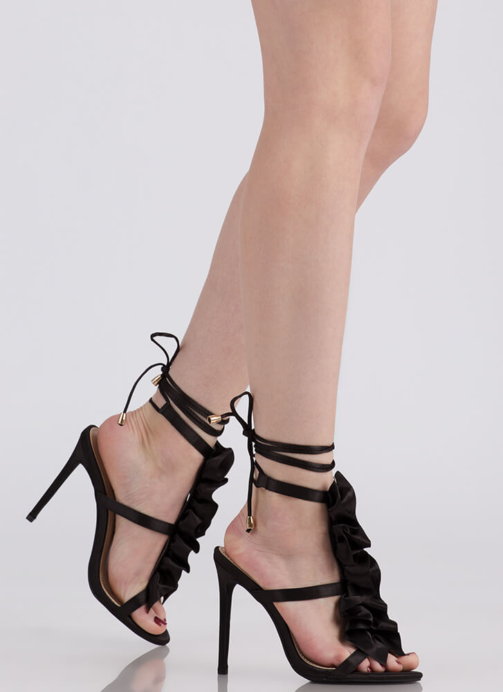 Ruffle Party Lace-Up Satin Heels BLACK