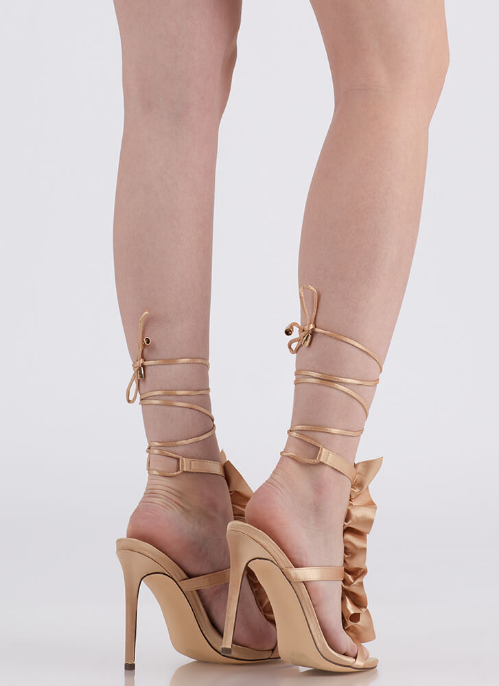 Ruffle Party Lace-Up Satin Heels CHAMPAGNE
