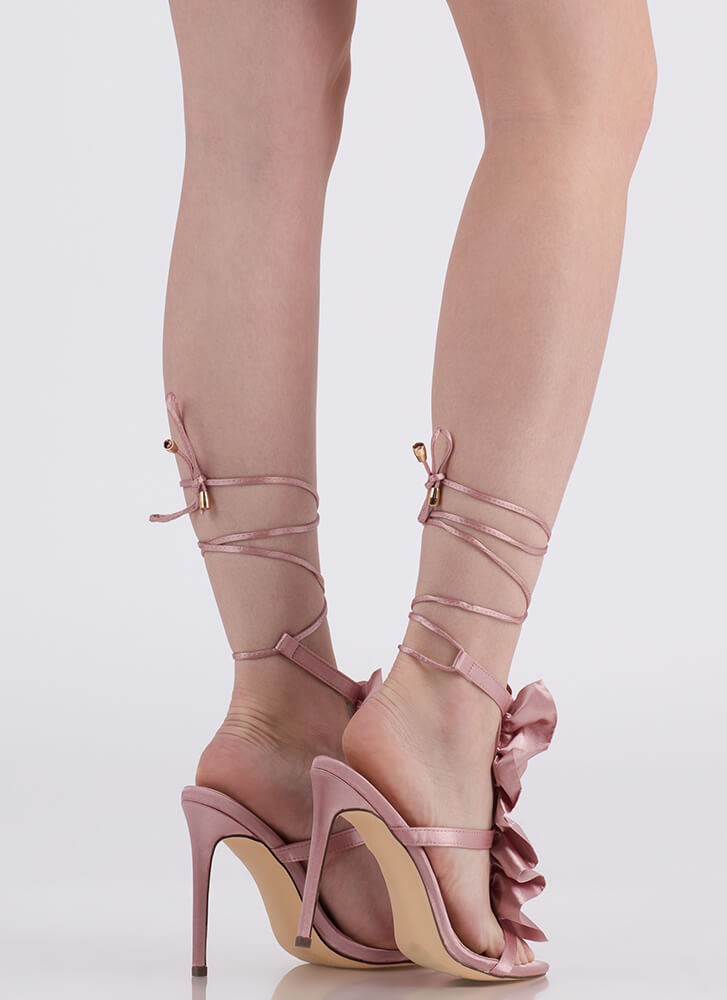 Ruffle Party Lace-Up Satin Heels DUSTYPINK