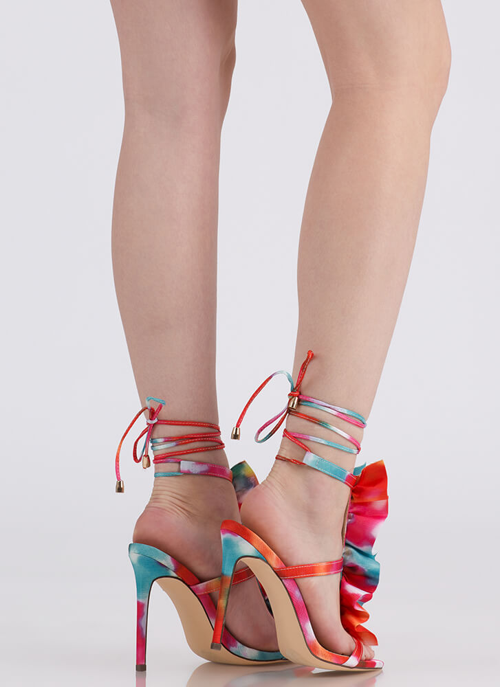Ruffle Party Lace-Up Watercolor Heels MULTI
