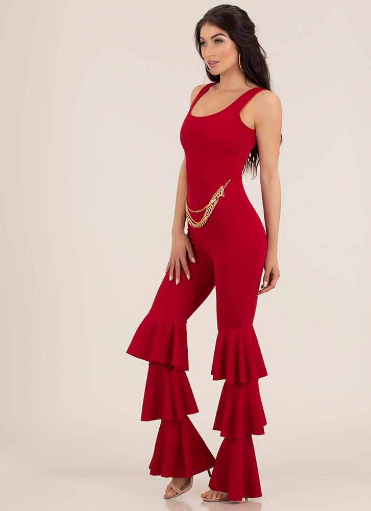 Dance Break Chained Ruffled Jumpsuit RED